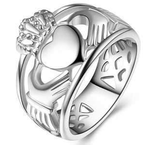 Size 7-14 Stainless Steel Irish Heart Claddagh Ring