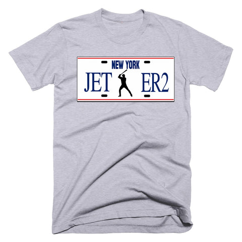 derek jeter new york yankees grey license plate tshirt