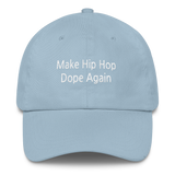 make hip hop dope again dad hat light blue