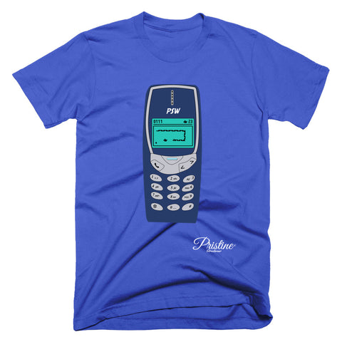 Nokia phone shirt with snake game in blue