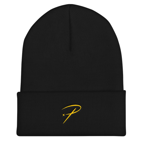Pristine Streetwear p icon beanie black and gold
