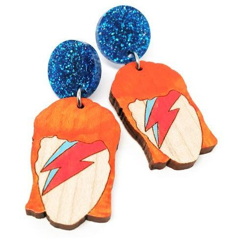 blossom and cat earrings 'aladdin sane painted dangles'