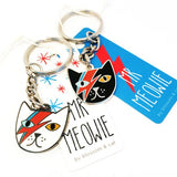 blossom and cat key ring 'mr meowie' black