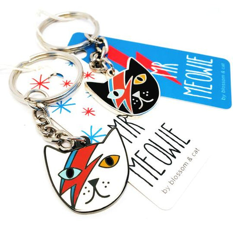 blossom and cat key ring 'mr meowie' white
