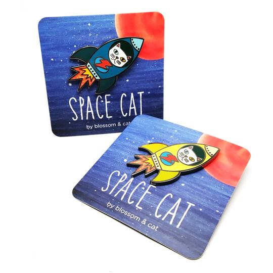 blossom and cat enamel pin 'space cat' mustard