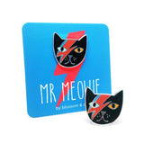blossom and cat enamel pin 'mr meowie' black