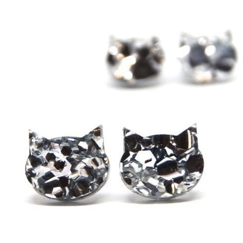 blossom and cat earrings 'fancy glitter cat mini studs' silver
