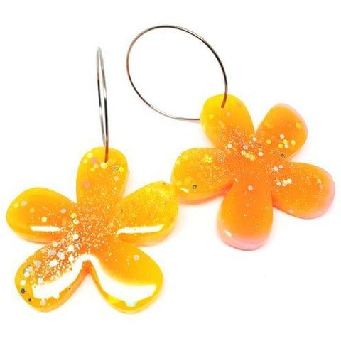 blossom and cat earrings 'resin flower hoops' light orange