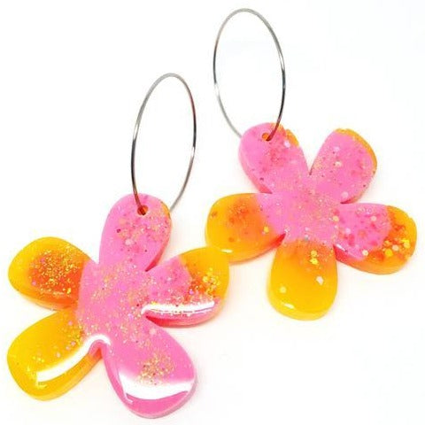 blossom and cat earrings 'resin flower hoops' pink & orange