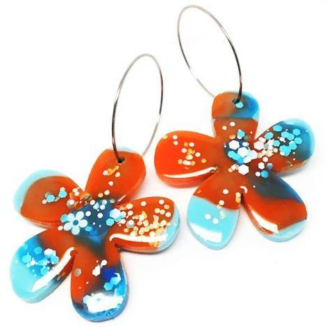 blossom and cat earrings 'resin flower hoops' burnt orange & aqua