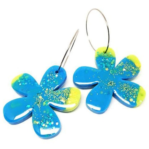 blossom and cat earrings 'resin flower hoops' blue & lime