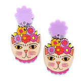 blossom and cat earrings 'frida catlo painted dangles' lilac