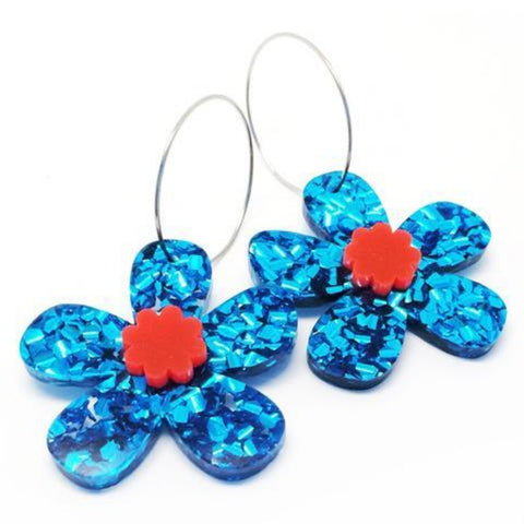 blossom and cat earrings 'daisy hoops acrylic'