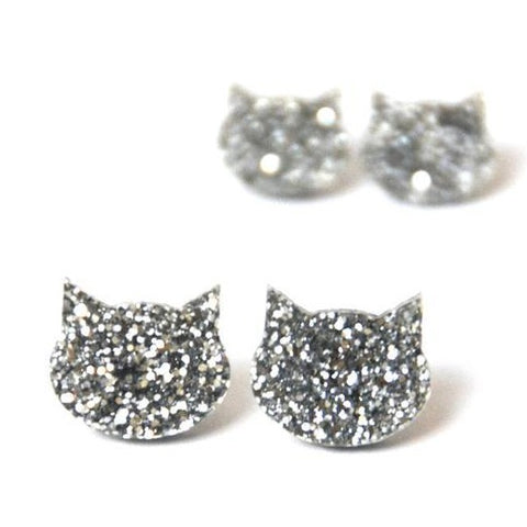 blossom and cat earrings 'glitter cat large studs' silver