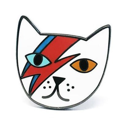 blossom and cat enamel pin 'mr meowie' white