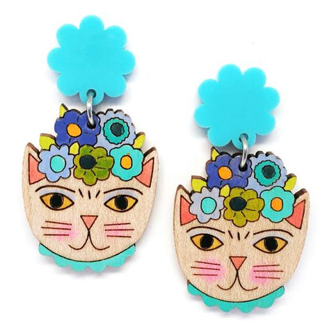 blossom and cat earrings 'frida catlo painted dangles' blue