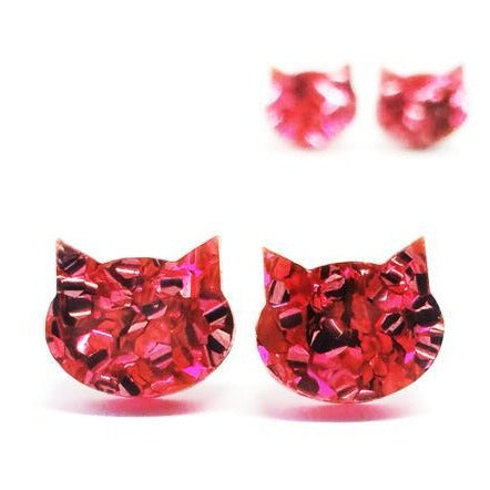 blossom and cat earrings 'fancy glitter cat mini studs' hot pink