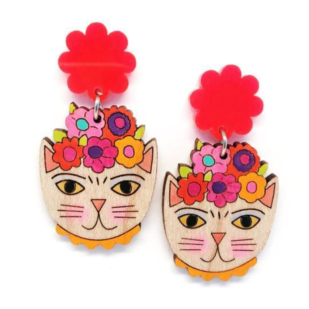 blossom and cat earrings 'frida catlo painted dangles' orange
