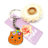 blossom and cat key ring 'frida cat' orange