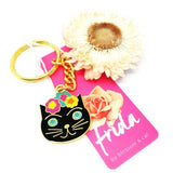 blossom and cat key ring 'frida cat' black & gold