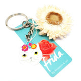 blossom and cat key ring 'frida cat' white & silver