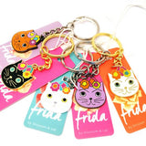 blossom and cat key ring 'frida cat' white & gold