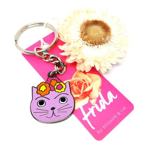 blossom and cat key ring 'frida cat' lilac