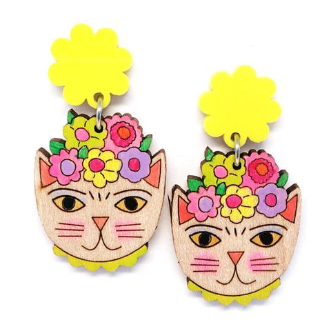 blossom and cat earrings 'frida catlo painted dangles' yellow