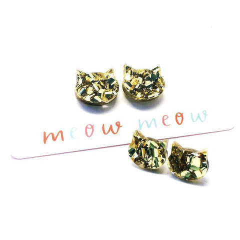 blossom and cat earrings 'fancy glitter cat mini studs' gold