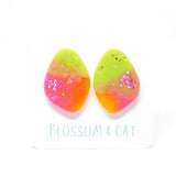 blossom and cat earrings 'resin organic studs' pink, orange & lime