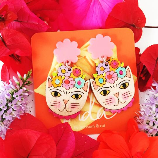 blossom and cat earrings 'frida catlo painted dangles' light pink
