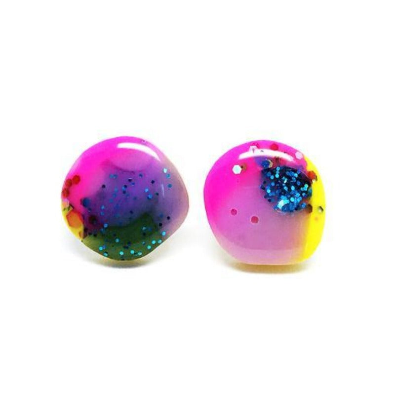 blossom and cat earrings 'resin pebble studs' pink, purple & yellow