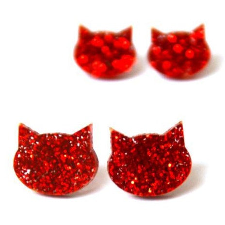 blossom and cat earrings 'glitter cat mini studs' red