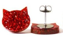 blossom and cat earrings 'glitter cat large studs' red