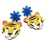 blossom and cat earrings 'tiger tiger painted dangles'
