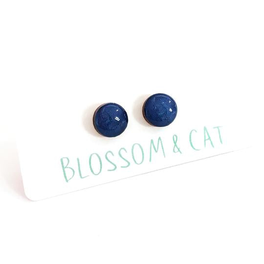 blossom and cat earrings 'mini dot studs' blue lake