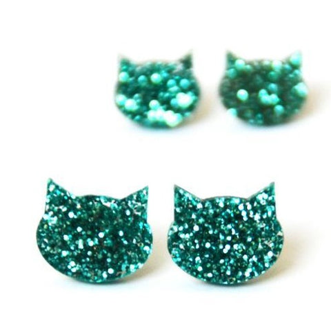blossom and cat earrings 'glitter cat mini studs' turquoise