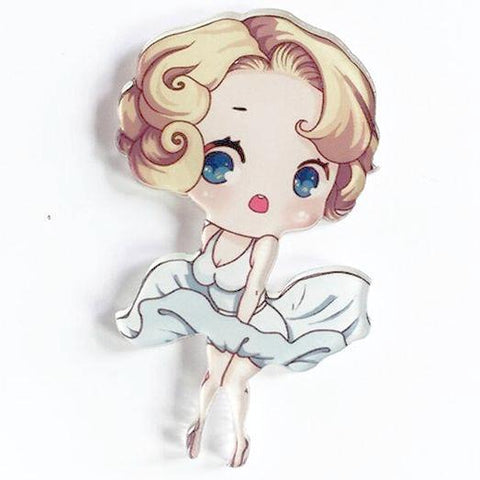 sugar acrylic brooch 'mini marilyn cartoon'