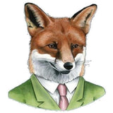 sugar acrylic brooch 'green suit fox'