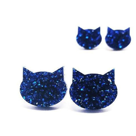 blossom and cat earrings 'glitter cat large studs' blue