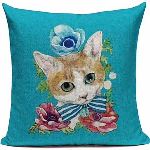CUSHION COVER 'IN THE GARDEN' VINTAGE CAT
