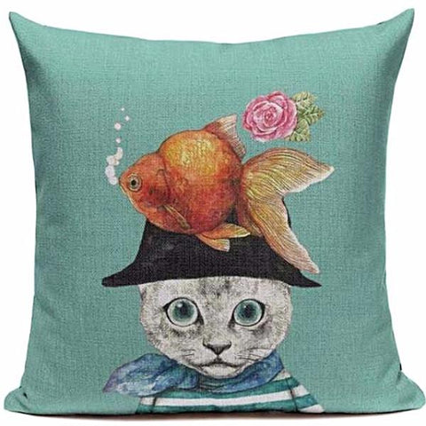 CUSHION COVER 'FISH TANK PIRATE' VINTAGE CAT
