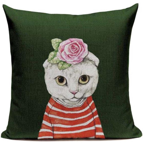 VINTAGE CAT CUSHION COVER 'SWEET MISS ROSE'