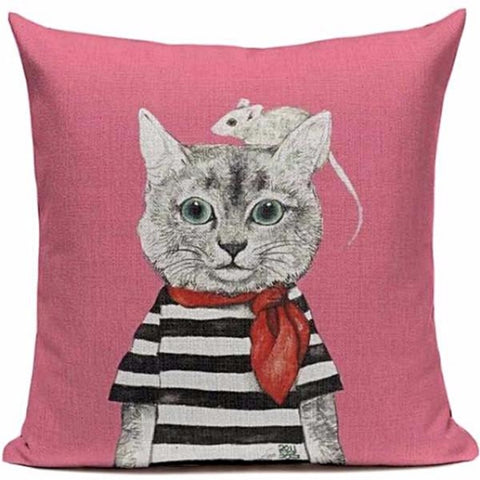 CUSHION COVER 'COOL MR MOUSE' VINTAGE CAT