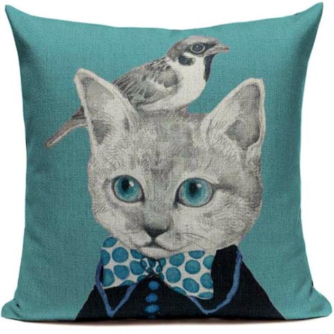 CUSHION COVER 'LITTLE BIRDIE BOW TIE' VINTAGE CAT