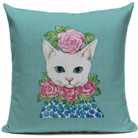 CUSHION COVER 'PINK FLOWER RUFF' VINTAGE CAT