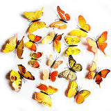 wall sticker '3D butterflies 12 pack' yellow - the-tangerine-fox