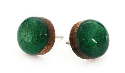 blossom and cat earrings 'mini dot studs' emerald