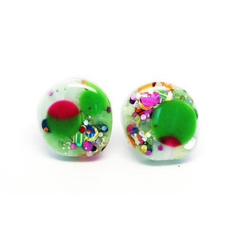 blossom and cat earrings 'resin pebble studs' greeny glitter