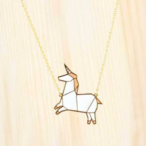 hug a porcupine necklace 'origami unicorn' pink - the-tangerine-fox
